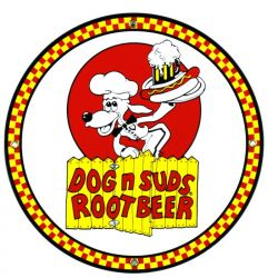 Emailleschild Dog 'n Suds Root Beer