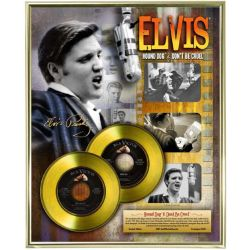 "Vergoldete Schallplatte - Elvis Presley ""Hound Dog - Don't Be Cruel"""