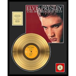 "Vergoldete Schallplatte - Elvis Presley ""The 50 Greatest Hits"""