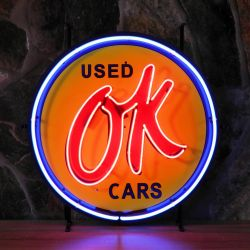 OK Used Cars neon