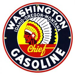 Emailleschild Washington Gasoline